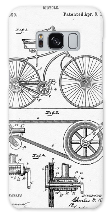 Bicycle Patent 1890 Galaxy S8 Case featuring the digital art Bicycle Patent 1890 by Bill Cannon