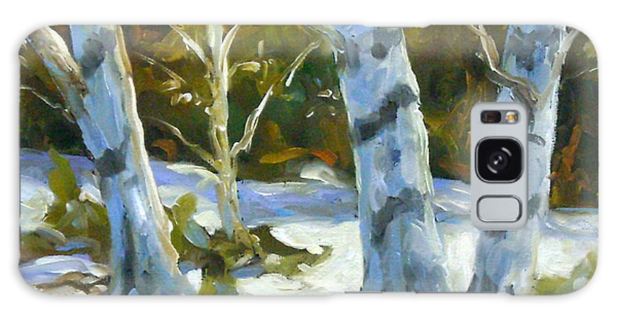 Art Galaxy S8 Case featuring the painting Big Birches In Winter by Richard T Pranke