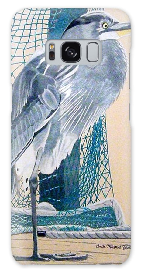 Blue Heron Galaxy Case featuring the drawing Big Blue by Anita Putman