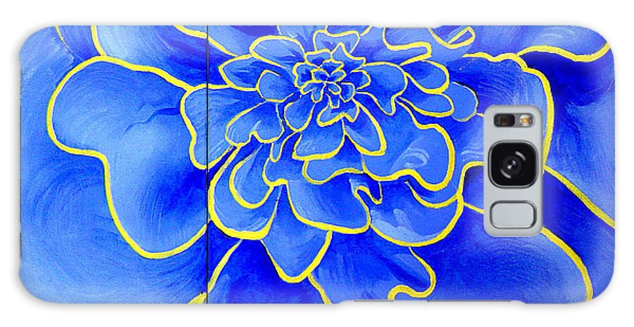 Diptych Galaxy Case featuring the painting Big Blue Flower by Geoff Greene