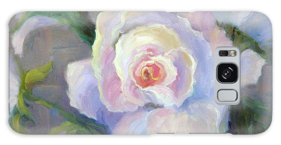Flower Galaxy Case featuring the painting Big Blushing Rose by Bunny Oliver