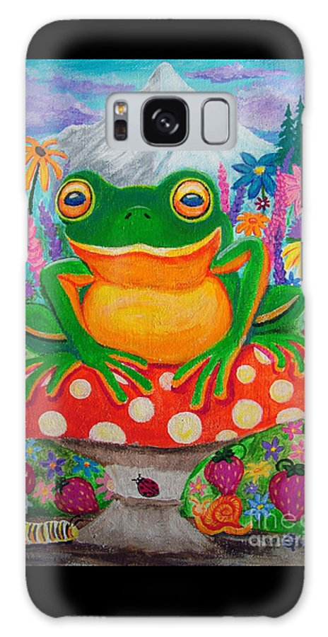 Frog Galaxy S8 Case featuring the painting Big Green Frog On Red Mushroom by Nick Gustafson