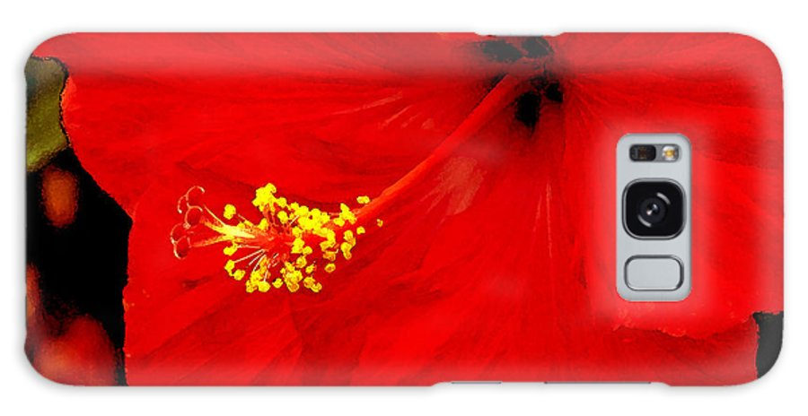 Caribbean Galaxy Case featuring the photograph Big Red Caribbean Hibiscus by Leonard Rosenfield