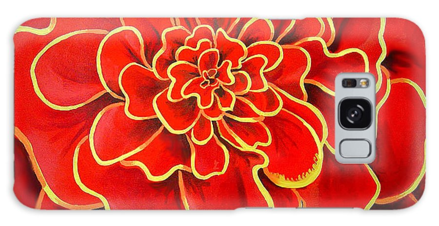 Diptych Galaxy Case featuring the painting Big Red Flower by Geoff Greene