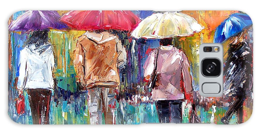 Rain Galaxy S8 Case featuring the painting Big Red Umbrella by Debra Hurd