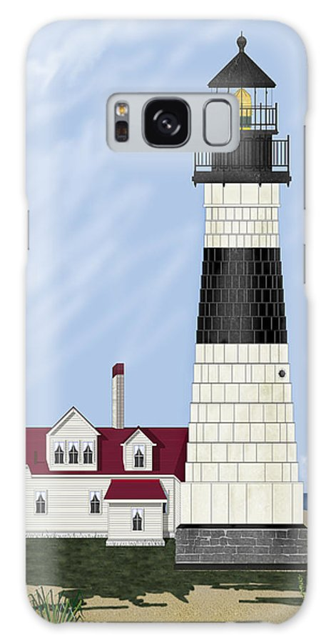 Big Sable Michigan Lighthouse Galaxy S8 Case featuring the painting Big Sable Michigan by Anne Norskog