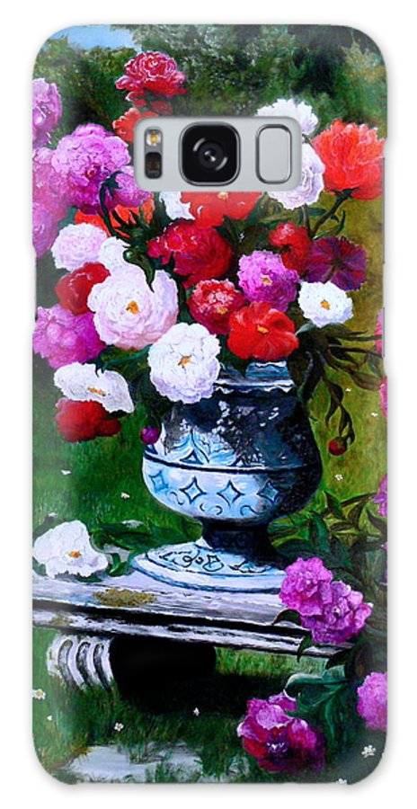 Stilllife Galaxy S8 Case featuring the painting Big Vase With Peonies by Helmut Rottler