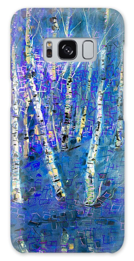 Birch Tree Galaxy S8 Case featuring the painting Birch Trees 3 by Viola El