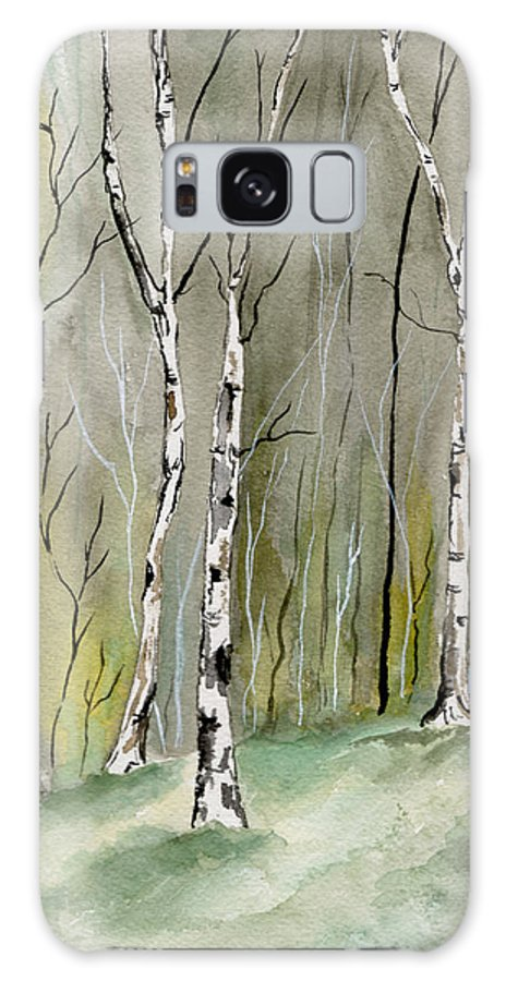 Landscape Galaxy S8 Case featuring the painting Birches Before Spring by Brenda Owen