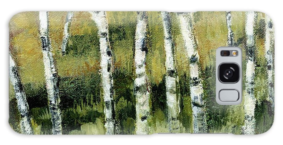 Trees Galaxy S8 Case featuring the painting Birches On A Hill by Michelle Calkins