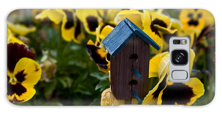 Pansy Galaxy S8 Case featuring the photograph Bird House And Pansey by Douglas Barnett
