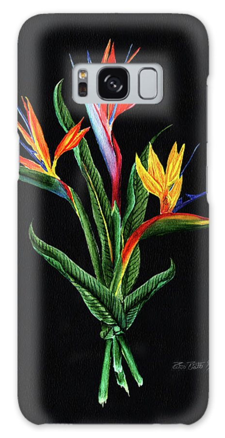 Bird Of Paradise Galaxy S8 Case featuring the painting Bird Of Paradise In Black by Peter Piatt