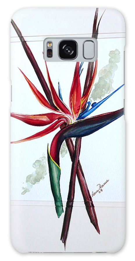 Floral Tropical Caribbean Flower Galaxy S8 Case featuring the painting Bird Of Paradise Lily by Karin Dawn Kelshall- Best