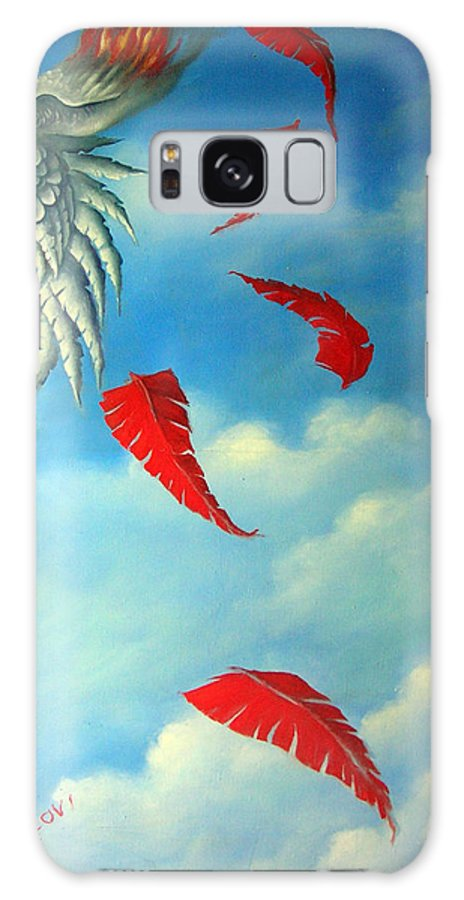 Surreal Galaxy Case featuring the painting Bird On Fire by Valerie Vescovi