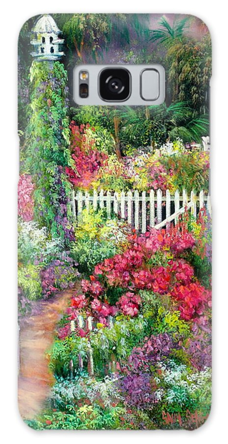 Flowers Galaxy Case featuring the painting Birdhouse Garden by Sally Seago