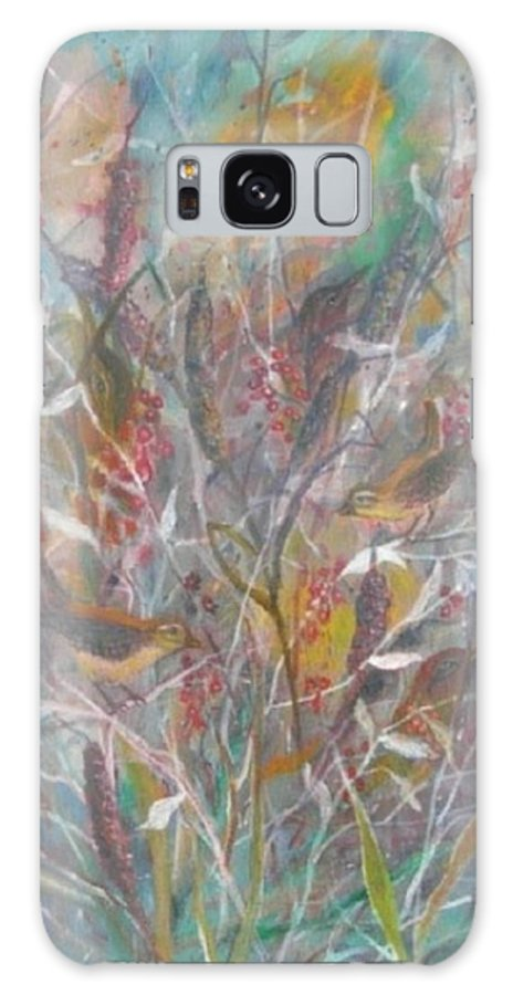 Birds Galaxy S8 Case featuring the painting Birds In A Bush by Ben Kiger