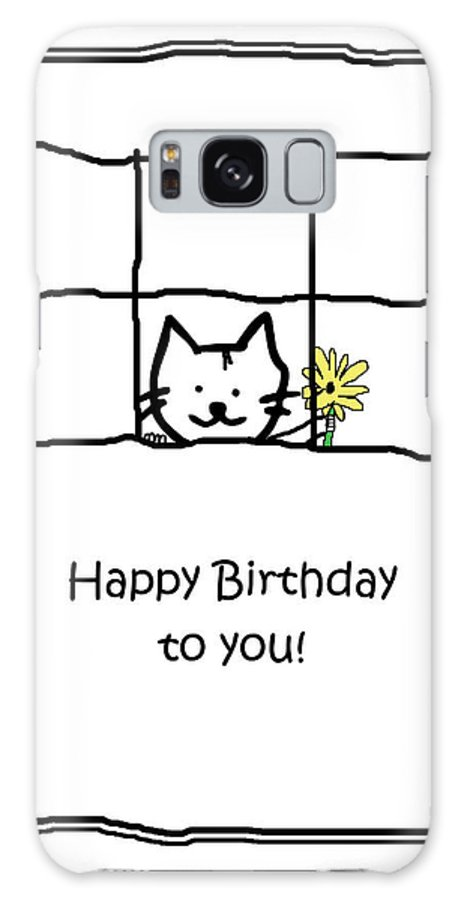 Cat Galaxy S8 Case featuring the drawing Birthday Greeting Card by Kenneth Krolikowski