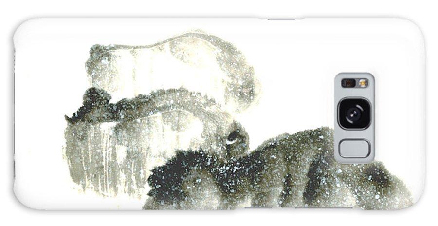 A Herd Of Bison Grazing In Snow. This Is A Contemporary Chinese Ink And Color On Rice Paper Painting With Simple Zen Style Brush Strokes.  Galaxy Case featuring the painting Bison In Snow II by Mui-Joo Wee