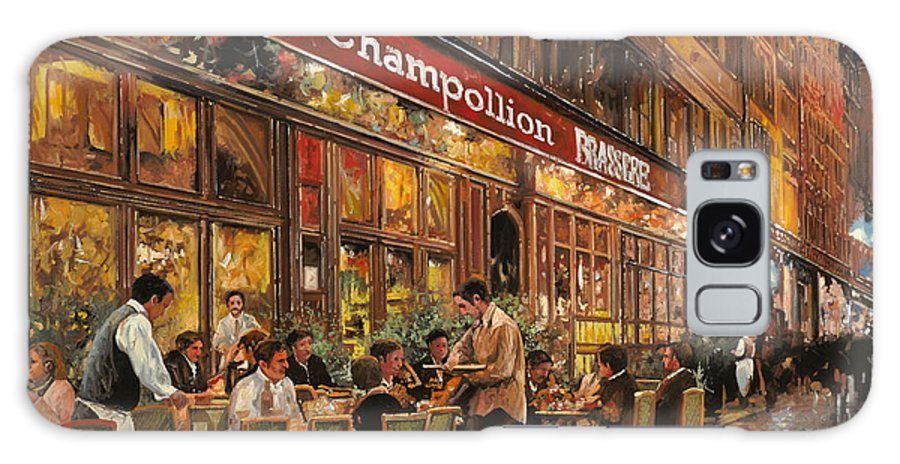 Street Scene Galaxy S8 Case featuring the painting Bistrot Champollion by Guido Borelli