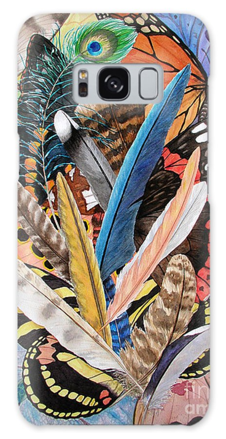 Feathers Galaxy Case featuring the painting Bits Of Flight by Lucy Arnold