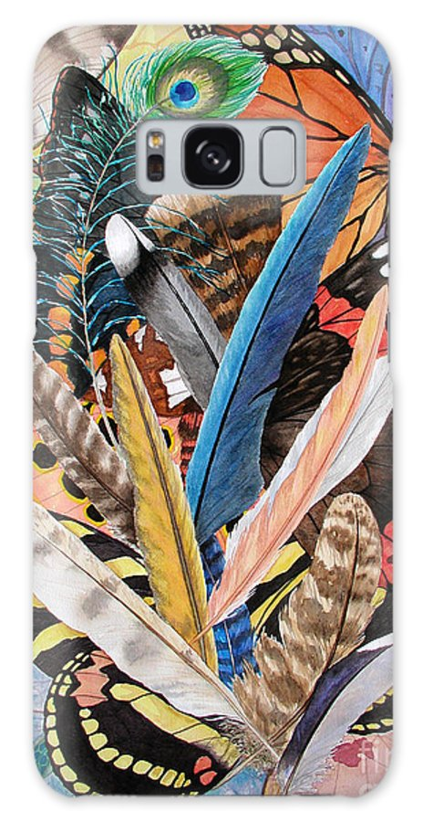 Feathers Galaxy S8 Case featuring the painting Bits Of Flight by Lucy Arnold