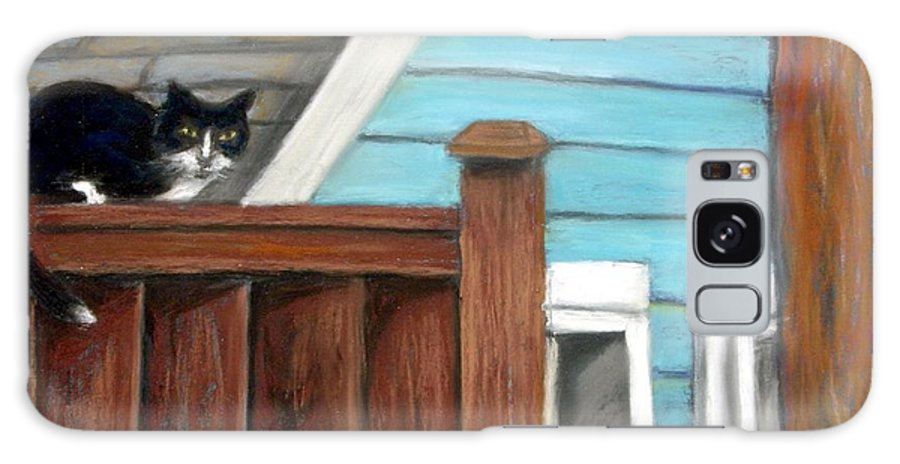 Cat Galaxy S8 Case featuring the painting Black Alley Cat by Minaz Jantz