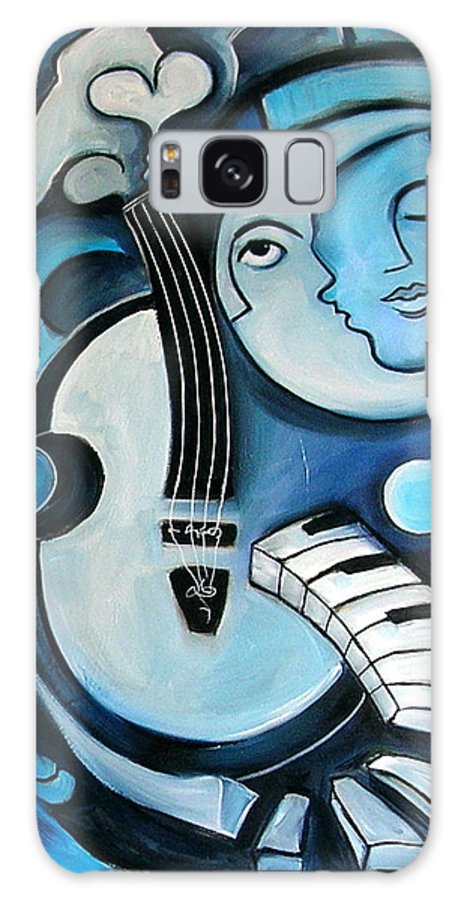 Abstract Galaxy S8 Case featuring the painting Black And Bleu by Valerie Vescovi
