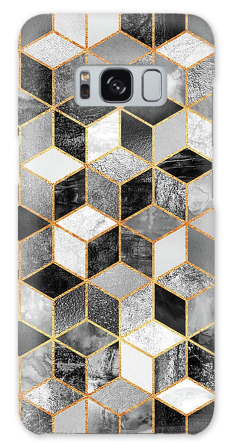 Graphic Design Galaxy Case featuring the digital art Black and White Cubes by Elisabeth Fredriksson