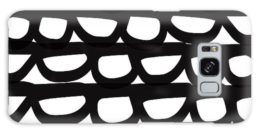 Modern Galaxy Case featuring the mixed media Black and White Pebbles- art by Linda Woods by Linda Woods