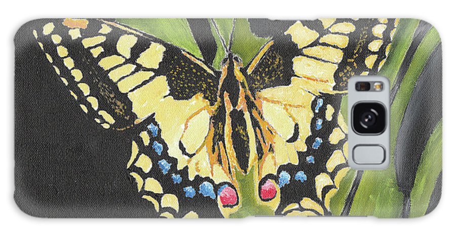 Butterfly Galaxy S8 Case featuring the painting Black And Yellow Butterfly by William Bowers