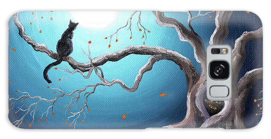 Landscape Galaxy S8 Case featuring the painting Black Cat In A Haunted Tree by Laura Iverson