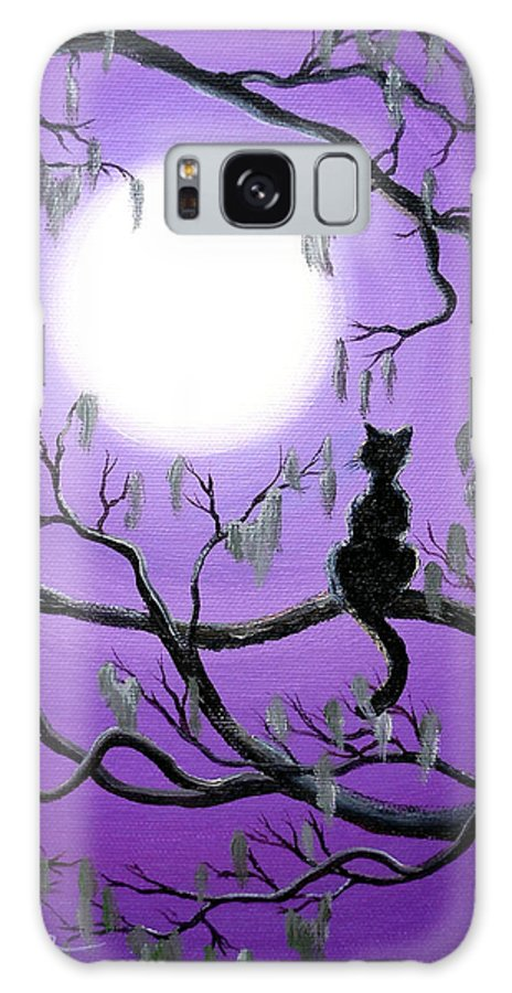 Painting Galaxy S8 Case featuring the painting Black Cat In Mossy Tree by Laura Iverson