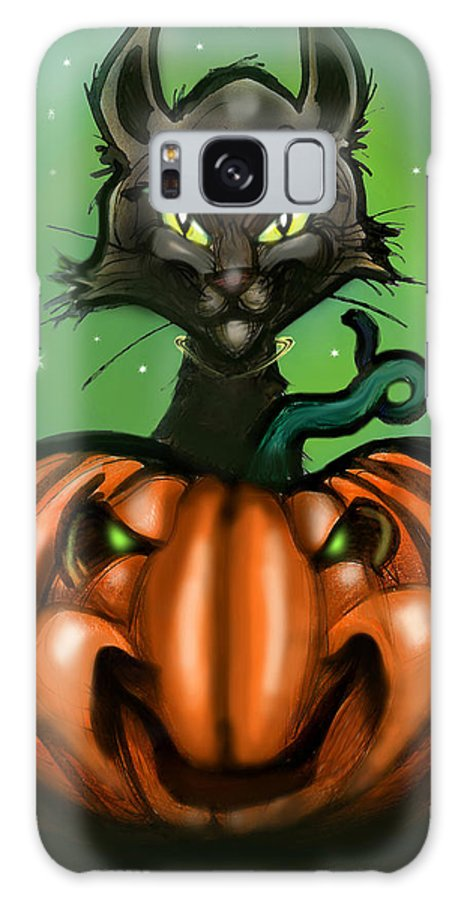 Halloween Galaxy S8 Case featuring the greeting card Black Cat N Pumpkin by Kevin Middleton