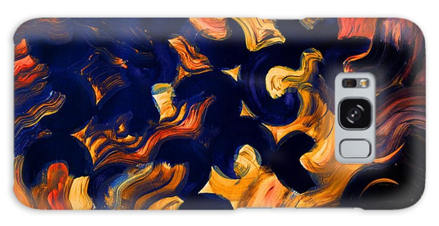 Abstract Galaxy S8 Case featuring the painting Black Fire by Valerie Dauce