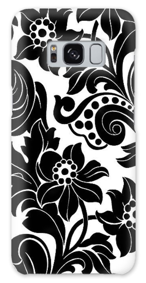 Branches Galaxy Case featuring the photograph Black Floral Pattern On White With Dots by Gillham Studios
