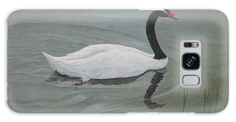 Black Necked Swan Galaxy Case featuring the painting Black Necked Swan by Juan Enrique Marquez