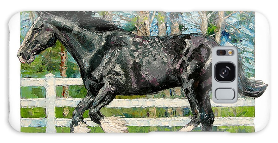 Horse Galaxy S8 Case featuring the painting Black Power by John Lautermilch
