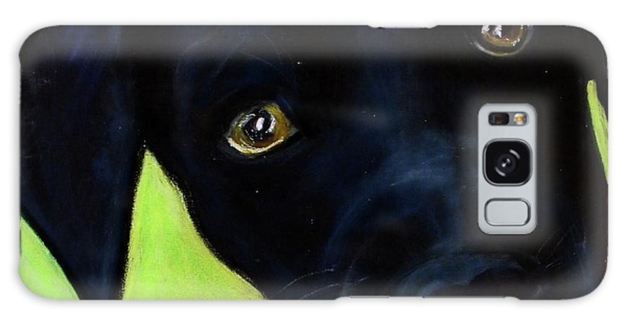 Dog Galaxy S8 Case featuring the painting Black Puppy - Shelter Dog by Laura Grisham