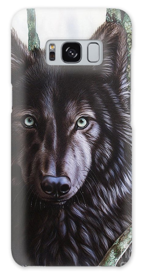 Wolves Galaxy S8 Case featuring the painting Black Wolf by Sandi Baker