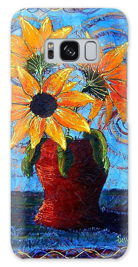 Galaxy Case featuring the painting Blazing Sunflowers by Tami Booher