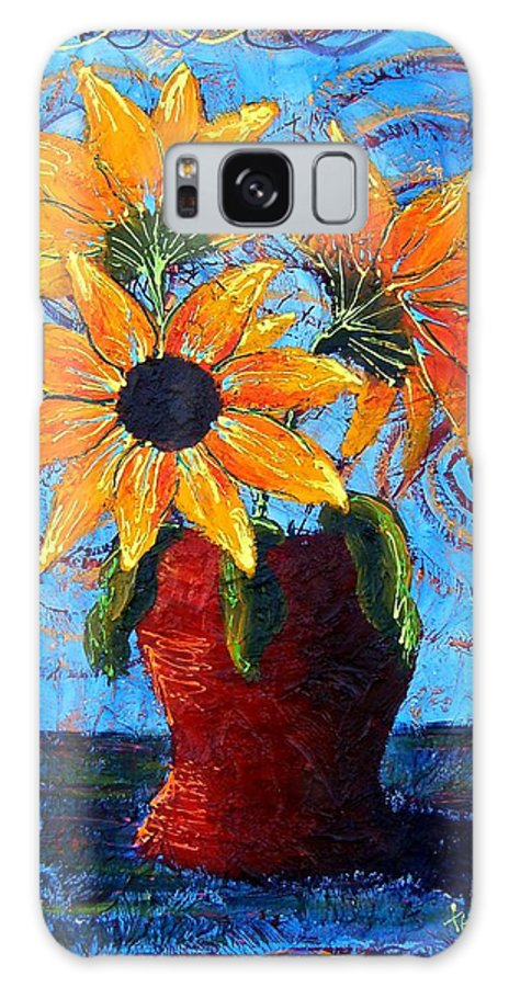 Galaxy S8 Case featuring the painting Blazing Sunflowers by Tami Booher