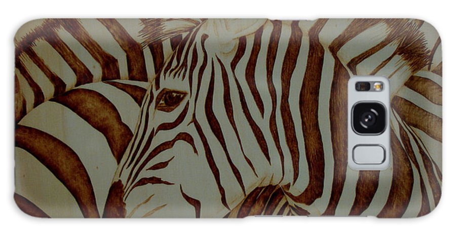 Pyrography; Woodburning; Sepia; Zebra; Stripes; Wild Life; Africa; Horse; Herd; Galaxy Case featuring the pyrography Blending In by Jo Schwartz