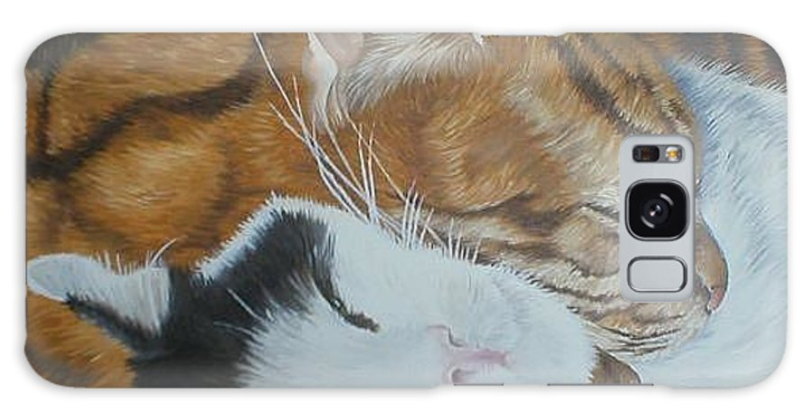 Cats Tabby Black White Jonah Jake Pinned Galaxy S8 Case featuring the painting Blissful Slumber by Pauline Sharp