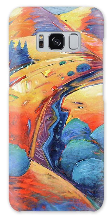 Hills Galaxy Case featuring the painting Blue And Gold by Gary Coleman