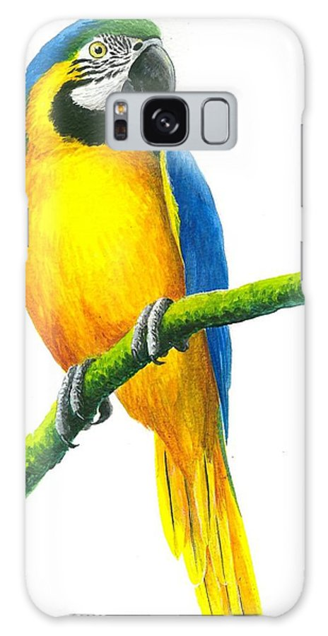 Chris Cox Galaxy S8 Case featuring the painting Blue And Gold Macaw by Christopher Cox
