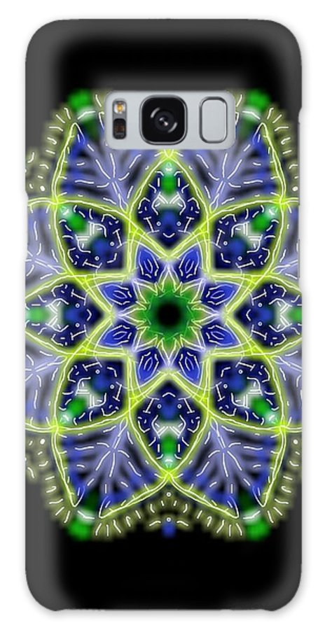 Blue Galaxy S8 Case featuring the digital art Blue And Green Flower Mandala by Michael African Visions