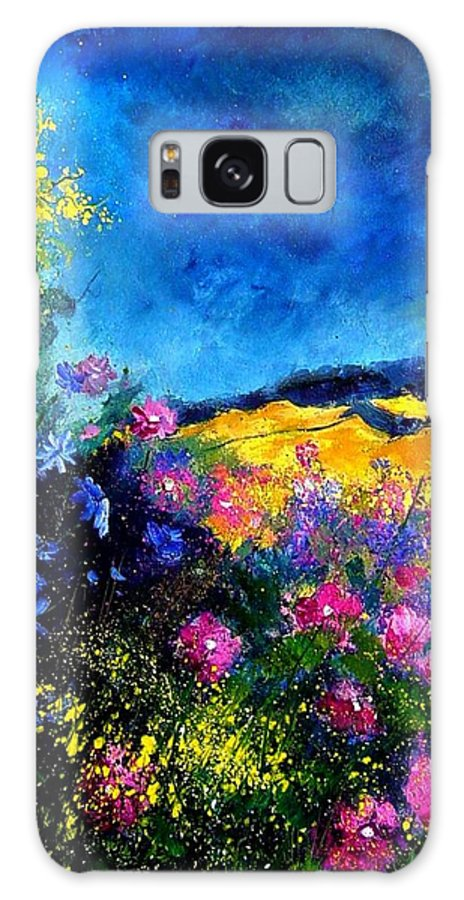 Landscape Galaxy Case featuring the painting Blue And Pink Flowers by Pol Ledent