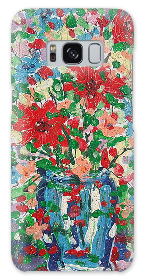 Painting Galaxy S8 Case featuring the painting Blue And Red Flowers. by Leonard Holland