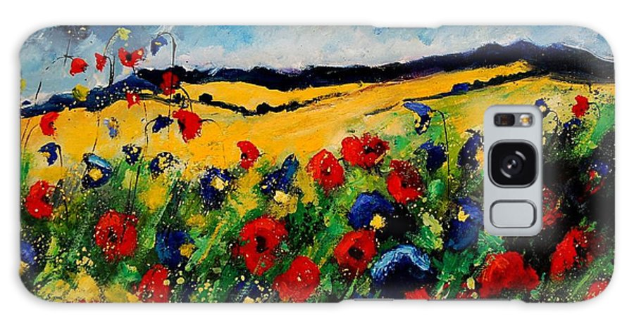 Poppies Galaxy Case featuring the painting Blue And Red Poppies 45 by Pol Ledent
