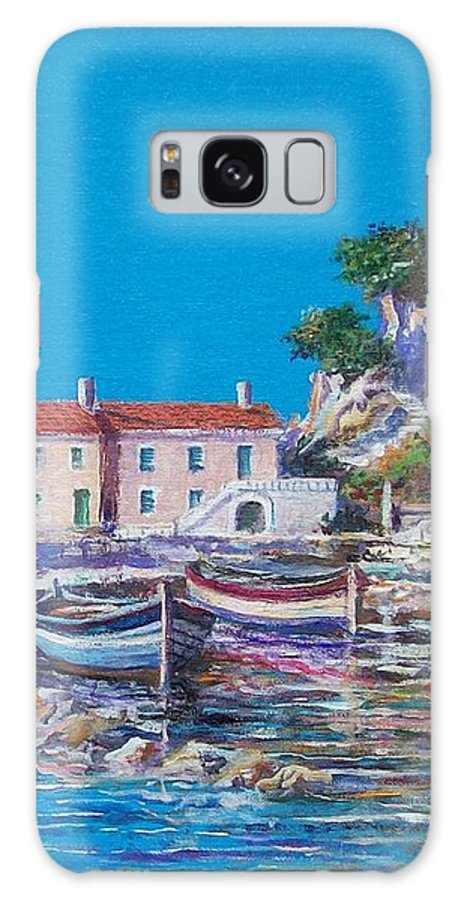 Original Painting Galaxy Case featuring the painting Blue Bay by Sinisa Saratlic